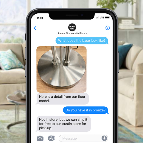 Lamps Plus offers the ability for customers to text all its stores without requiring an additional app. This texting exchange is based on similar text conversations. (Photo: Lamps Plus)