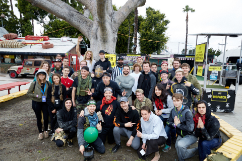 YouTube celebrity MrBeast poses with the Apex Legends Battle Royale competitors in Los Angeles on March 6 (Photo: Business Wire)