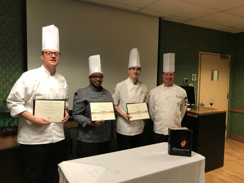 Aramark Chefs, Patrick Schaeffer, Shameka Akinleye and Rick Larsen, pose with Chef David Bruno of The Culinary Institute of America (CIA) after receiving their ProChef II Certification. These chefs join 15 other Aramark Chefs who recently graduated from the prestigious ProChef certification program at the CIA. (Photo: Business Wire)