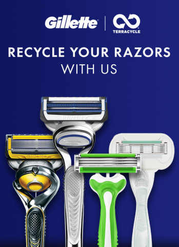 Gillette, in partnership with international recycling leader TerraCycle, announced for the first-time in the United States that all brands of disposable razors, replaceable-blade cartridge units and razor plastic packaging are recyclable on a national-scale. (Graphic: Gillette)