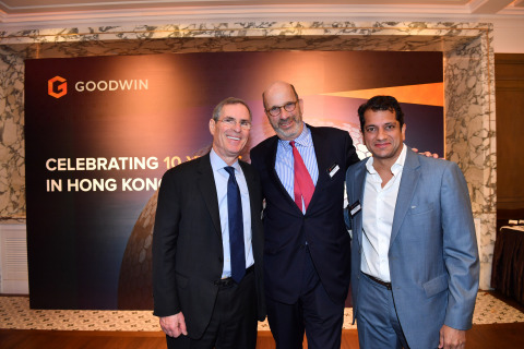 Chairman David Hashmall, partner Stuart Cable, who oversaw Goodwin's strategic expansion in Asia, and Hong Kong office chair Yash Rana at the ten-year anniversary celebration of Goodwin's Hong Kong office. (Photo: Business Wire)
