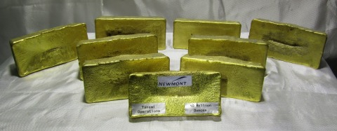 Gold bar containing the 10 millionth ounce produced at Newmont's Tanami operation in Northern Territory, Australia. (Photo: Business Wire)
