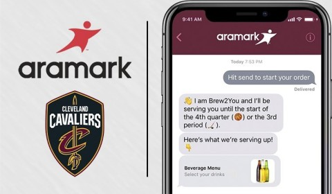 The Cleveland Cavaliers and Aramark announced fans sitting in designated sections of Quicken Loans Arena are now able to place orders using their iPhone's Messages app to have the menu items delivered directly to their seats. The Cavaliers and Quicken Loans Arena are the first NBA team and arena to pilot the service. (Graphic: Business Wire)