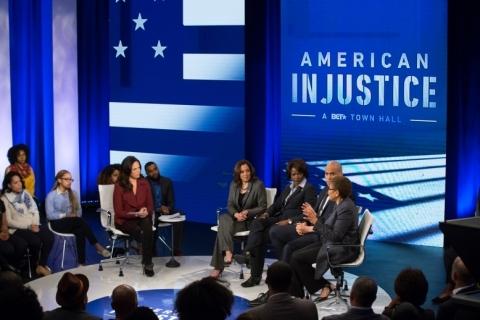 L-R: (host) Soledad O'Brien, Senator Kamala Harris, Representative Val Demings, Senator Cory Booker, ...