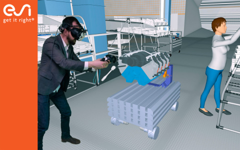 Manufacturers realistically experience and validate assembly and maintenance procedures in real-scale and real-time thanks to ESI's Virtual Reality solution IC.IDO. Image courtesy of ESI Group.