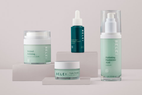 From left to right: Belei Retinol Refining Moisturizer, Belei Triple-Peptide Eye Cream, Belei Ferulic Acid + Vitamins C and E Serum, Belei Hydrating Hyaluronic Acid (Photo: Business Wire)