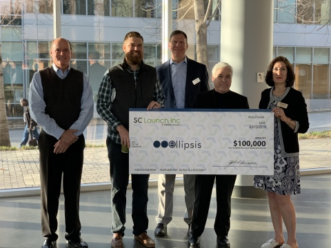 Ellipsis Technologies is presented with a big check to celebrate the SC Launch, Inc. investment. From left: Mark Housley, SCRA Regional Manager, John Schulz, Ellipsis Chief Technology Officer, Bob Quinn, SCRA Executive Director, Bill West, Ellipsis Co-Founder and CEO and Jill Sorenson, SCRA Director of Entrepreneurial Programs. (Photo: Business Wire)