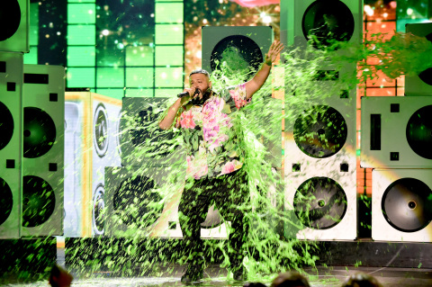 Host DJ Khaled gets slimed onstage at Nickelodeon's Kids' Choice Awards 2019 at Galen Center on Marc ...