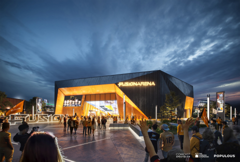 An exterior rendering of Fusion Arena, a 3500-seat esports venue coming to the Philadelphia Sports Complex. Credit: Comcast Spectacor/The Cordish Companies/Populous