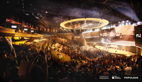 An interior rendering of Fusion Arena, a 3500-seat esports venue coming to the Philadelphia Sports Complex. Credit: Comcast Spectacor/The Cordish Companies/Populous