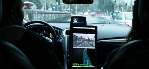 A photo from December 2018 shows the interior cabin of a Mobileye autonomous vehicle as it maneuvers through traffic in Jerusalem. Mobileye, an Intel company, is the leader in assisted driving and a pioneer in the use of computer vision technology to save lives on the road. The company, based in Jerusalem, became part of Intel in 2017. (Credit: Mobileye)