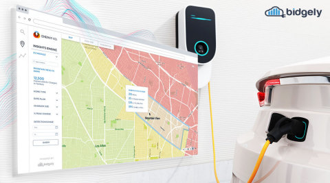 The new Bidgely EV Solution identifies territory-wide residential charging patterns and pinpoints homes with EVs for targeted product and service offerings that help utilities enhance customer engagement, manage the grid more effectively and generate new revenue. (Graphic: Business Wire)