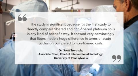 """Dr. Scott Trerotola on the study """"Fibered versus non-fibered coils: comparison in a swine model."""" (Graphic: Business Wire)"""