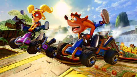 Crash™ Team Racing Nitro-Fueled is now kicked into the highest gear, with the original CTR game modes, characters, tracks, arenas, power-ups, and more – fully revved up! Papu's Pyramid, a remastered Crash Team Racing track, takes racers through a lush jungle environment, packed with sweeping views, epic waterfalls, fiery torches, and giant man-eating plants. (Graphic: Business Wire)