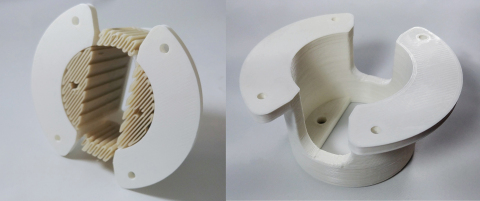 "Battery isolator cover printed by IC3D with Ingeo 3D450 supports before and after removal. ""3D450 pr ..."
