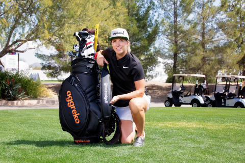 LPGA golfer Melissa Reid displays new branded golf bag equipment presented by Aggreko plc on Tuesday, March 19 at the Wildfire Golf Club at JW Marriott Phoenix Desert Ridge Resort and Spa. Reid is from the U.K. and now plays on the U.S. LPGA Tour − mirroring Aggreko's global headquarters in the U.K. and North American headquarter in the U.S., two locations from which Aggreko manages temporary power, cooling and heating for major sports and premiere events around the world. (Photo: Business Wire)