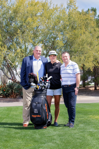 LPGA golfer Melissa Reid displays new branded golf bag equipment presented by sponsor Aggreko plc on Tuesday, March 19, at the Wildfire Golf Club at JW Marriott Phoenix Desert Ridge Resort and Spa. Reid is from the U.K. and now plays on the U.S. LPGA Tour − mirroring Aggreko's global headquarters in the U.K. and North American headquarter in the U.S., two locations from which Aggreko manages temporary power, cooling and heating for major sports and premiere events around the world. (Photo: Business Wire)