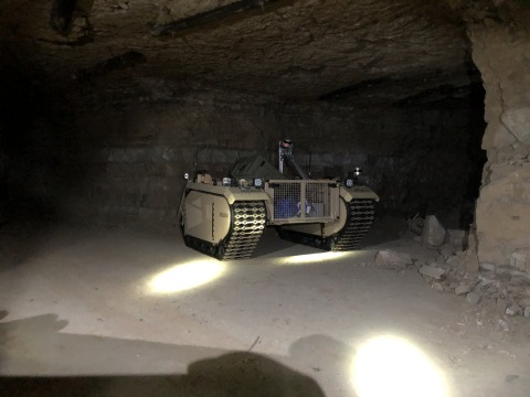 The Estonian energy company Enefit utilized Milrem Robotics' commercial line unmanned ground vehicle Multiscope to determine the condition of the pillars in a mine in which mining ended ten years ago. (Photo: Business Wire)