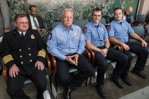 Port Houston Fire Chief William Buck, Senior Captain Stan Kozlowski, Engineer/Operator Kyle Jordan and Driver/Operator Mark Lewis were present at the meeting and received a round of applause of appreciation on behalf of all their firefighting peers for their emergency response efforts. (Photo: Business Wire)