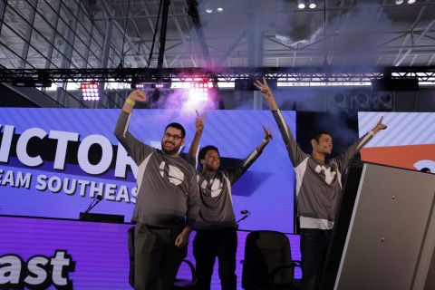 Poltergust, Wrath and Devonte of the Southeast Region tournament take home the top prize at the Super Smash Bros. Ultimate North America Open 2019 on Saturday, March 30, 2019, at PAX East in Boston. (Photo: Business Wire)