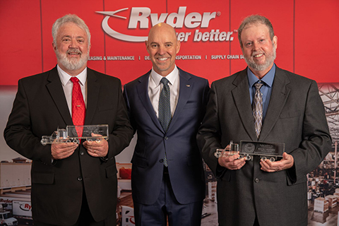 "Ryder Chairman & CEO Robert Sanchez (center) presents James ""Mike"" Williams, based out of Corbin, KY (left), and Kevin Vaughn, based out of Lenexa, KS (right), with Ryder's 46th Annual Driver of the Year Award. Williams drives for Ryder's Supply Chain Solutions. Vaughn drives for Ryder's Dedicated Transportation Solutions. (Photo: Business Wire)"