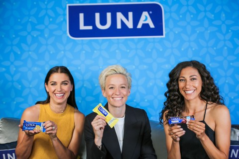 USWNT Players Alex Morgan, Megan Rapinoe and Christen Press. Believing in equal pay for equal work, LUNA Bar is giving each of the 23 women named to the 2019 USWNT World Cup team $31,250, comprising the difference between the women's and men's World Cup roster bonus.(Photo: Business Wire)