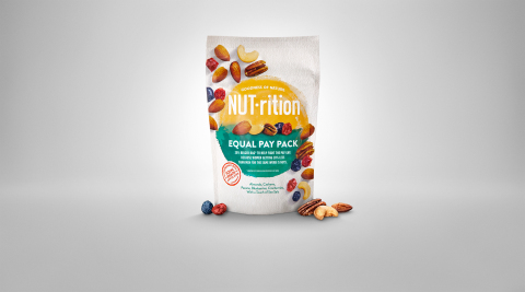 "Introducing NUT-rition's limited-edition ""Equal Pay Pack,"" a 20% bigger pack of the delicious nut mix that will be available for a limited time online at paygapisnuts.com and at select retailers (Photo: Business Wire)"