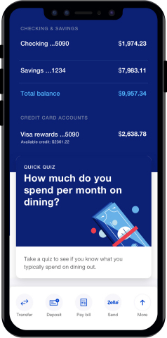 The new U.S. Bank mobile app includes new features, including a spending quiz that lets users guess how much they recently spent on a particular category and then see what was actually spent in that category. (Photo: Business Wire)
