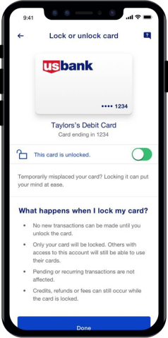 Card management in the new U.S. Bank mobile app is easily accessible – including features like setting travel notifications and freezing a debit card. (Photo: Business Wire)