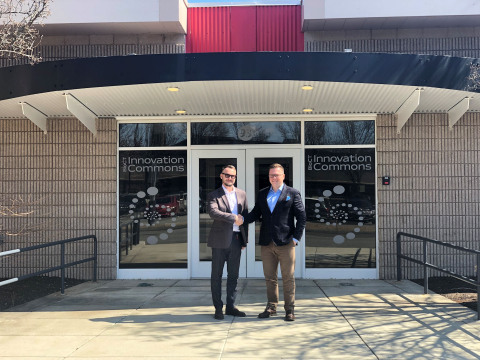Dmytro Skomorohov, Vice-President at ADAM, and Denys Gurak, Partner at WeFund Ventures and Chairman of the Board at ADAM, near BioCT Innovation Commons (Groton, CT) (Photo: Business Wire)