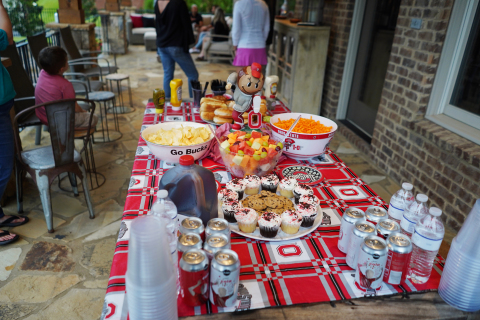 The goal with the eating zone is to accommodate guests quickly, without blocking game viewing or creating a risk of spills. (Photo: Business Wire)