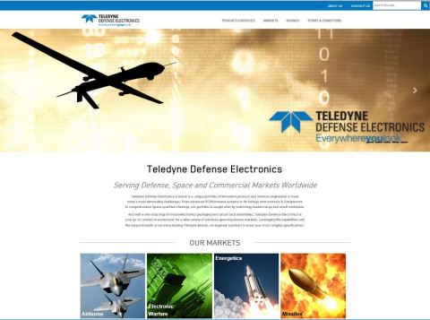 The home page of the new TDE website which profiles 10+ leading Teledyne brands and their product an ...