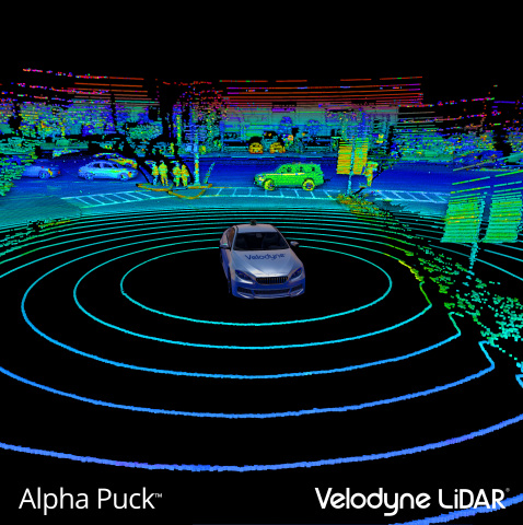 Point Cloud from Velodyne Alpha Puck™ which provides industry-leading range and resolution, detecting objects and people with unrivaled precision. (Photo: Business Wire)