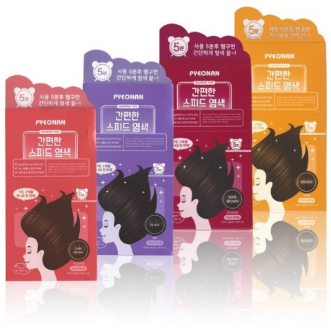 PYEONAN, a hair brand of Saerom Cosmetics Co., Ltd. provides a solution for troublesome premature greying of hair with 14 ingredients derived from nature. PYEONAN Easy-to-Use Speedy Hair Dye comes in 4 different colors including black, dark brown, brown and wine brown. (Photo: Business Wire)