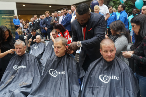 """David Ortiz (Big Papi) shaves the head of Sam Kennedy, President of the Boston Red Sox (center), while Governor Charles Baker (left) and Granite CEO Rob Hale also lose their locks to raise awareness and funds for Boston Children's Hospital during Granite's 6th Annual """"Saving by Shaving"""" event on April 3, 2019. (Photo: Business Wire)"""