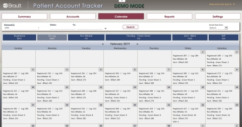 Brault Patient Account Tracker (PAT) - Calendar View (Graphic: Business Wire)