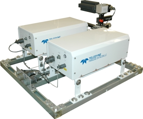 Two compact, outdoor SSPAs from Teledyne Paradise Datacom in a frame with a redundancy kit. (Photo:  ...