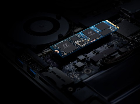Intel in April 2019 introduces Intel Optane memory H10 with solid-state storage. The device combines the responsiveness of Intel Optane technology with the storage capacity of Intel Quad Level Cell (QLC) 3D NAND technology in an M.2 form factor. (Credit: Intel Corporation)