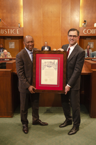 Halliburton Chairman, President and CEO Jeff Miller receives City of Houston Proclamation declaring Wednesday, April 10, 2019, as Halliburton Day from Mayor Sylvester Turner. (Photo: Business Wire)