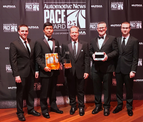 The Velodyne Lidar team accepting the 2019 Automotive News PACE Award at the awards ceremony in Detr ...