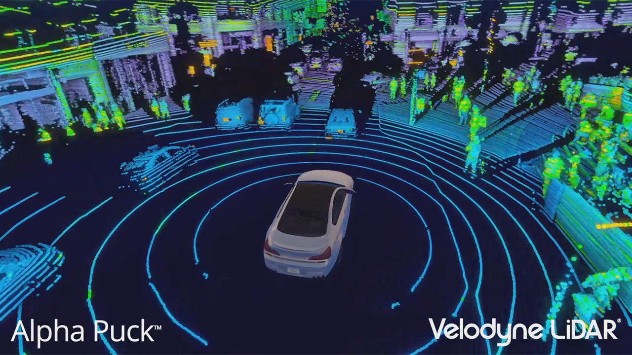 Velodyne Alpha Puck™ can simultaneously locate the position of people and objects around a vehicle and assess the speed and route at which they are moving.