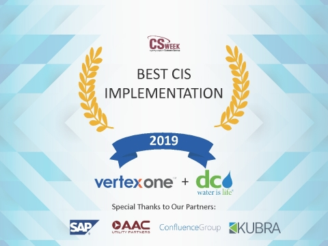 Vertex and DC Water's highly successful CIS project implementation – an expansion of its 20-year partnership – celebrated at CS Week 2019. (Graphic: Business Wire)