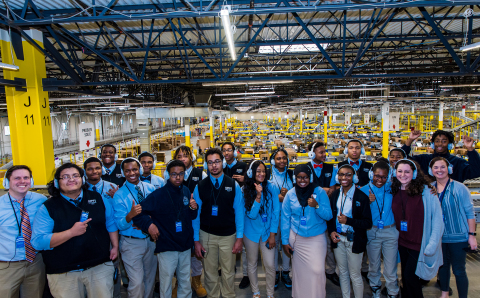 KIPP Columbus students tour an Amazon fulfillment center as part of Amazon Future Engineer robotics grant program. (Photo: Business Wire)
