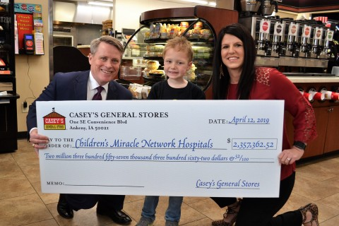 Terry Handley, President and CEO of Casey's General Stores, presents check to Children's Miracle Net ...