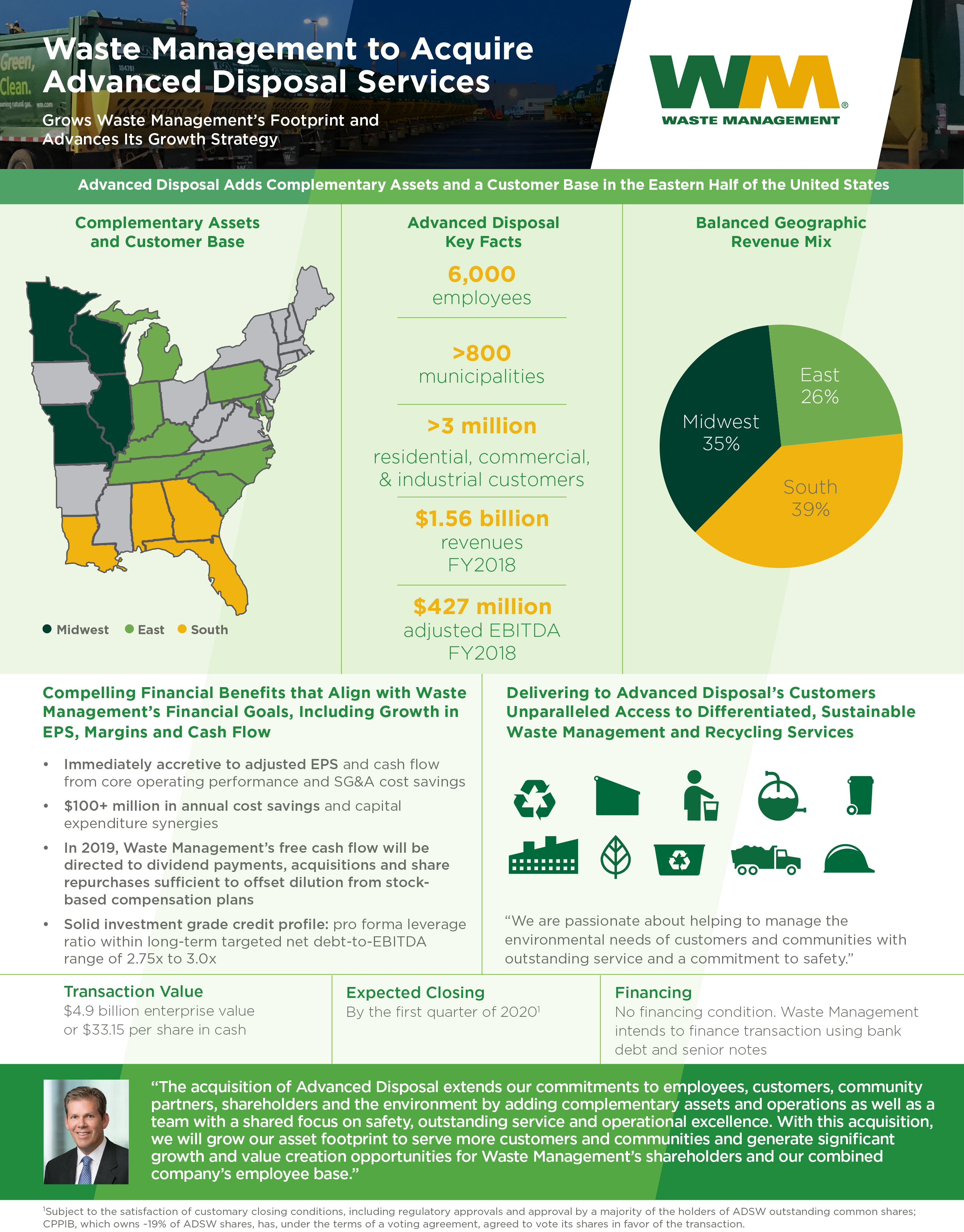 Advanced Disposal Holiday Schedule 2020 Waste Management to Acquire Advanced Disposal for $4.9 Billion