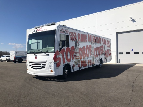 REV Group's custom Mobile Survive Alive House RV, built for the Milwaukee Fire Department's community fire education program. (Photo: Business Wire)