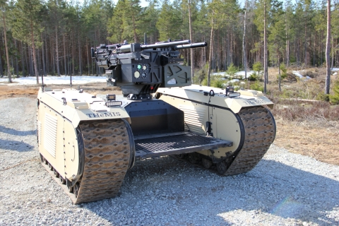 During EW Live Milrem Robotics deployed their THeMIS UGV equipped with ST Engineering's ADDER DM remote weapon station to engage targets that were identified by a UAV.(Photo: Business Wire)