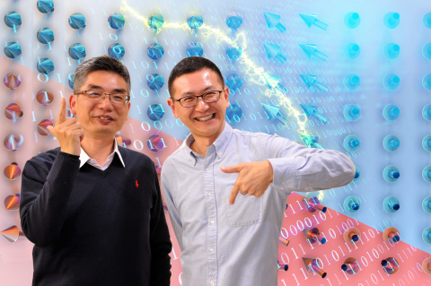 Professor Lai Chih-huang (left) and Lin Hsiu-hau of NTHU using hand gestures to represent the 0-1 co ...