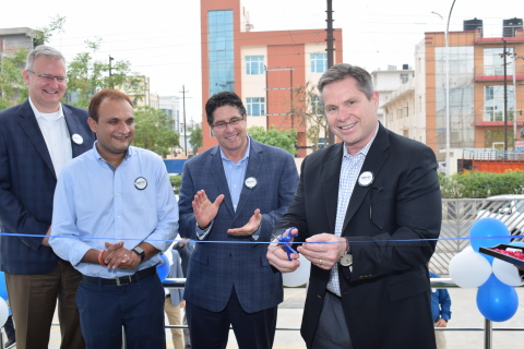 Leaders from Boyd Corporation cut the ribbon to mark the official opening of Boyd India's precision converting facility in Noida India. From right to left: Mitch Aiello, President & CEO; Damian Wellesley-Winter, Sr. VP Global Sales & Marketing; Yogesh Saglani, General Manager Boyd India; Eric Struik, Sr. VP & CFO. (Photo: Business Wire)