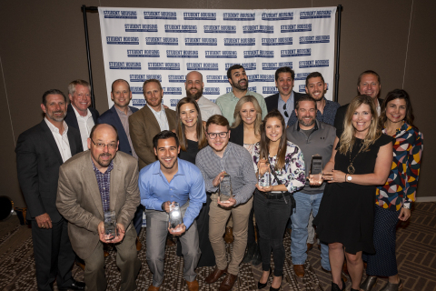 The American Campus Communities team accepts six Innovator Awards at the 2019 SHB Interface Awards R ...